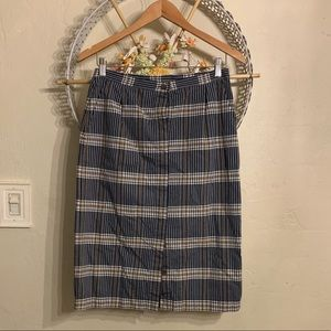 Pendleton Plaid Button Down A-line Skirt 4 S